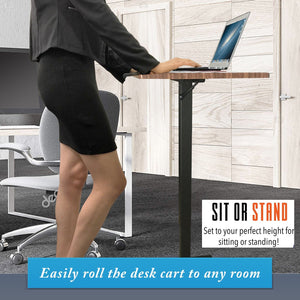 Instant Sit-stand desk is height-adjustable via a pneumatic lever I Laptop Mobile Desk Cart