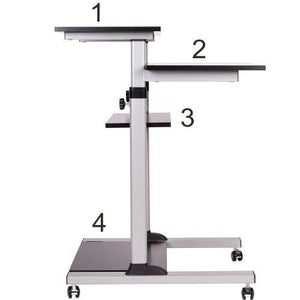 Mobile Stand Up Desk/Height Adjustable Computer Work Station Rolling Presentation Cart (for Monitor or Laptop)