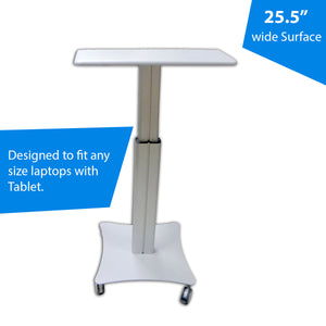 "Sit-Standing Mobile Laptop Cart, Rolling Desk with Height Adjustable 47.2"" x 31.4"" Platform, Supports up to 17.6 lbs, Silver"