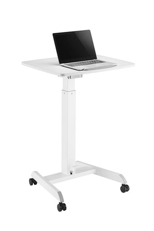 Pneumatic Height Adjustable Sit-Stand Mobile Laptop Computer Desk Cart, Single Column Standing Desk, A Compact, Rolling Workstation Works Great as a Lectern/Podium, (LPTGE)