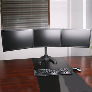 triple monitor stand freestanding lcd computer screen desk mount for 19, 20, 22, 23, 24 inch monitors vesa 75 and 100 compatible full motion, 66 lbs capacity (3 horizontal monitor)