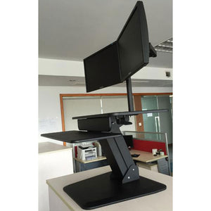 dual monitor sit stand workstation desk converter with two monitor arm