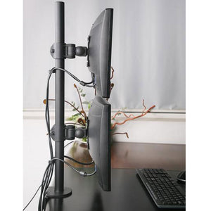 dual vertical monitor arm clamp type
