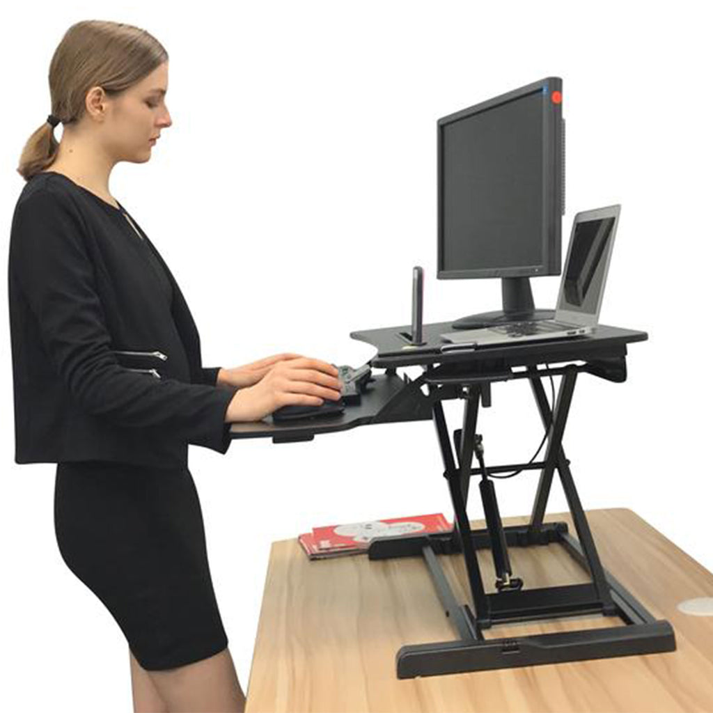 Instant Standing Desk Sit-Stand Desk Converter for Laptop, 1 or 2 Desktop, Stepless Any height lock Height Adjustable, Ergonomic, Gas Spring Arm, Free Standing, Easy Installation