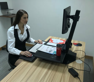 Single Monitor Electric Vertical Bar Desktop Sit-stand Workstation (RTELV)