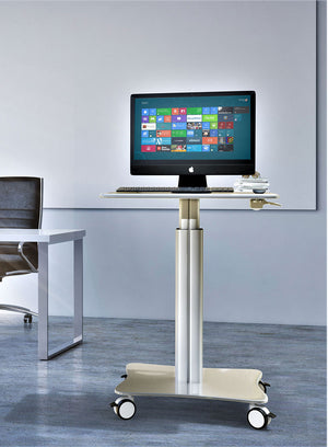 "Sit-Standing Mobile Laptop Cart, Rolling Desk with Height Adjustable 31.5"" x 23.6"" Platform, Supports up to 17.6 lbs, Silver (LPC05)"