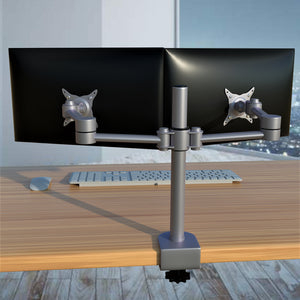 Dual Monitor Heavy Duty Aluminum Desk Stand, Fully Adjustable, Fit Screen up to 32 inch, 33 lbs on Each Arm, VESA 75 and 100mm, Silver (RPCH2S)