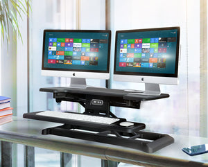 ELECTRIC Sit Stand Workstation Standing Desk Converter-Pain free Adjustments
