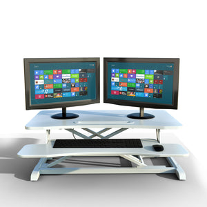 "Gas Spring Height Adjustable Riser Converter, with Sit to Stand Ergonomic Principle with 31.5"" Wide Tabletop Workstation fits Dual Monitors, White"