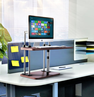 Adjustable Sit to Stand Standing Desk On Top Of Your Existing Desk SSD, 2 Shelves, Cherry