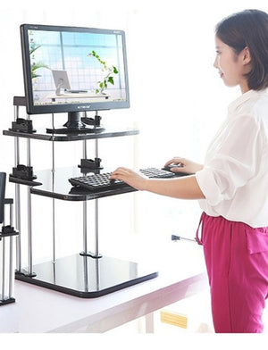 Adjustable Sit to Stand Standing Desk, 3 Shelves, Black