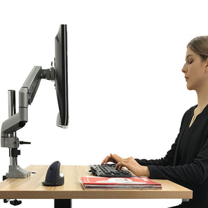 monitor arm single lcd monitor desk mount stand with gas spring fully adjustable fits 20 21 23 24 27 30 32 screens height adjustable tilt swivel rotate, clamp and grommet base (model lms-gp)