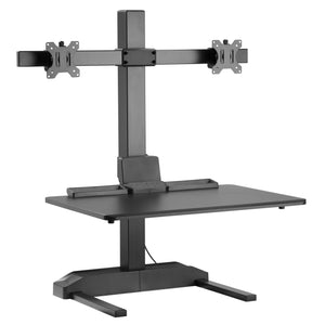 "Dual 17""-29"" Monitor Mount Electric Ergonomic Height Adjustable Sit-Stand Desk Converter Workstation - Black"