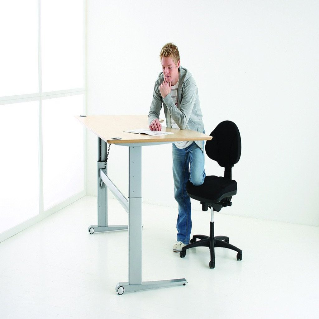Wheeled base 2 leg electric height adjustable with cable for Motorized standing desk legs