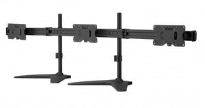 "Triple LED LCD Monitor Stand up Freestanding Desk Mount for Support up to 32"" Monitors, 29 inch Pole Heavy Duty Fully Adjustable Stand, Black (2003MSFH)"