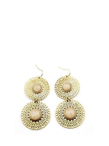 Stylish Round Shape Alloy Drop Earrings