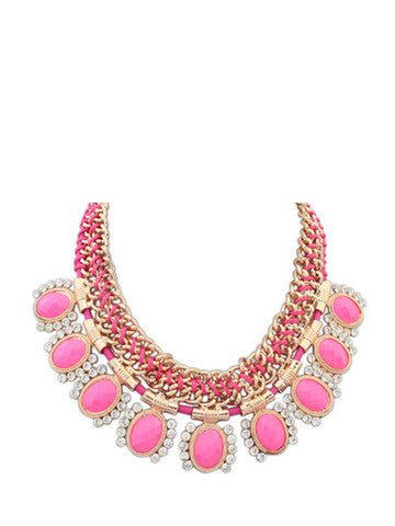 Luxury Stones Rhinestones Metallic Necklace For Women