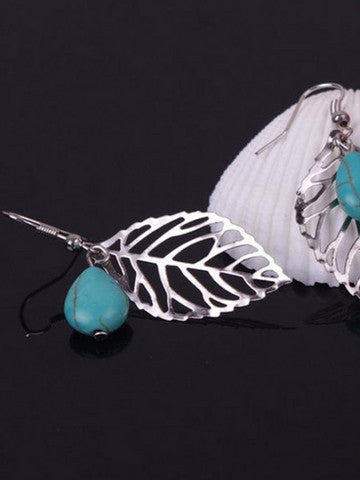 Bohemian Style Turquoise Leaf Casual Women Earrings