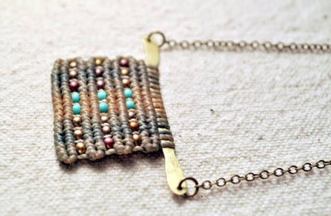 Hammered Brass Circuit Necklace