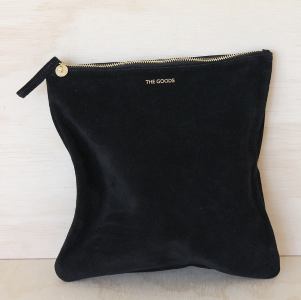 Black Suede Foldover Clutch
