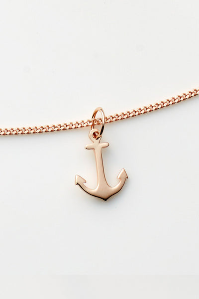 Pink Lou Lou Anchor Necklace Rose Gold