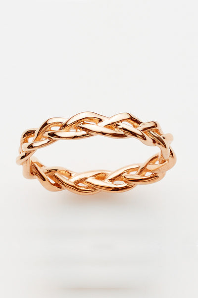 Pink Lou Lou Plait Ring Rose Gold