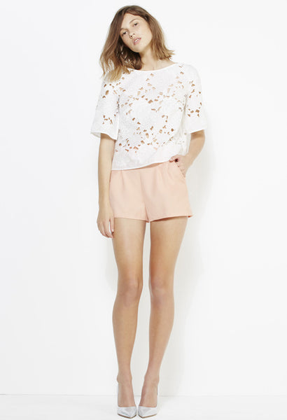 YB J'aime by Yeojin Bae Cut Out Embroidered Top White