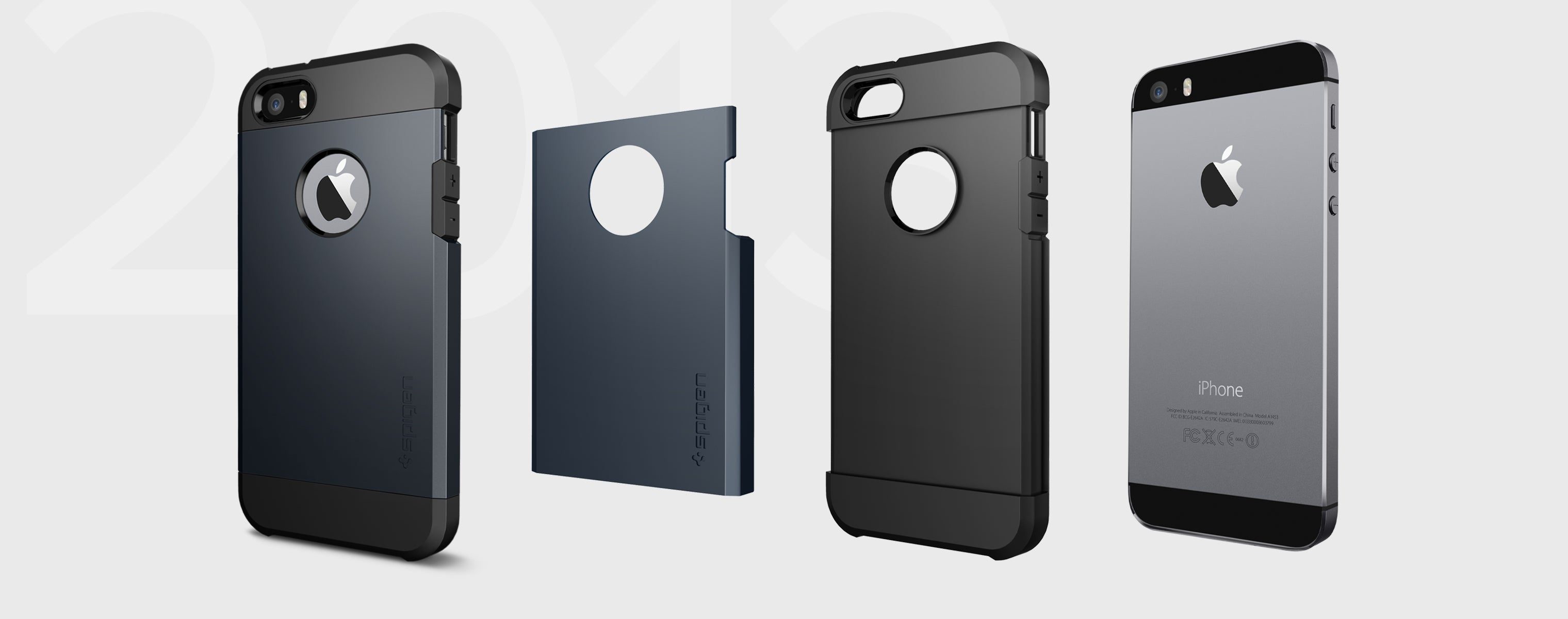 Tough Armor Metal Slate color case separated showing the outer PC layer, the outer TPU layer, and the iPhone