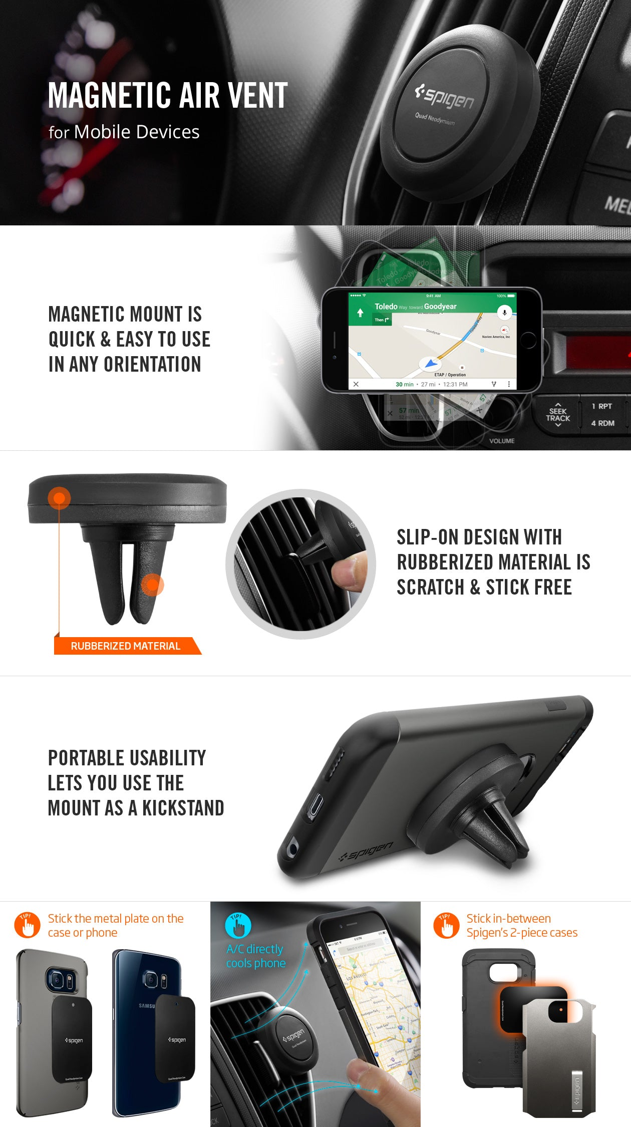 Magnetic Cell Phone Mount >> Spigen Kuel® A200 Magnetic Air Vent Car Mount – Spigen Inc