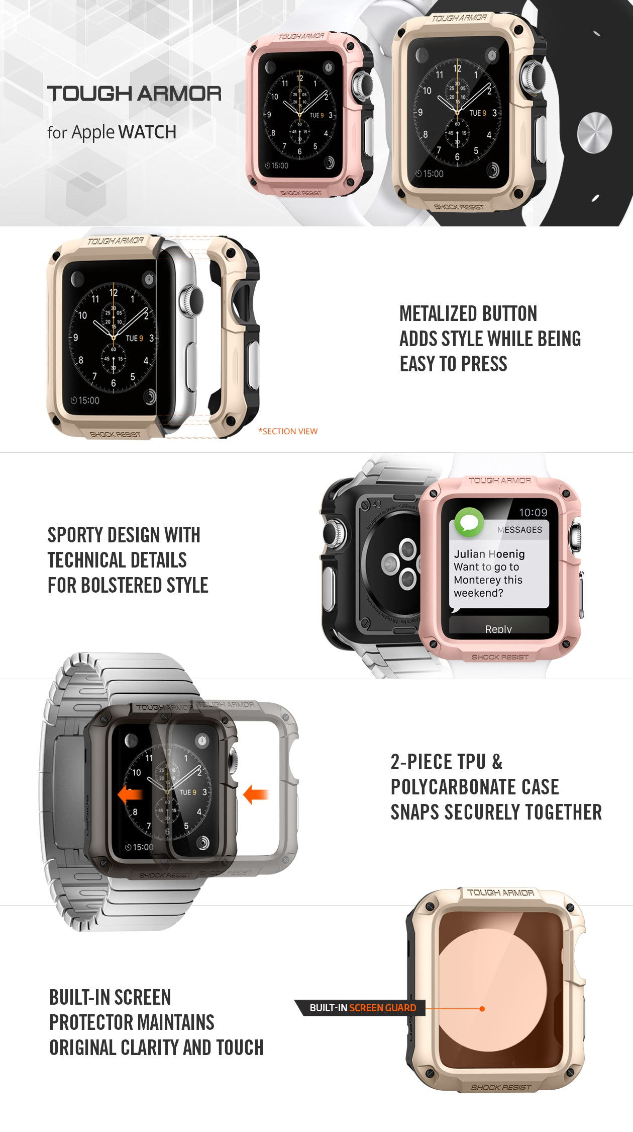wholesale dealer b2bbc f4e9d Apple Watch Series 3/2/1 (42mm) Case Tough Armor – Spigen Inc