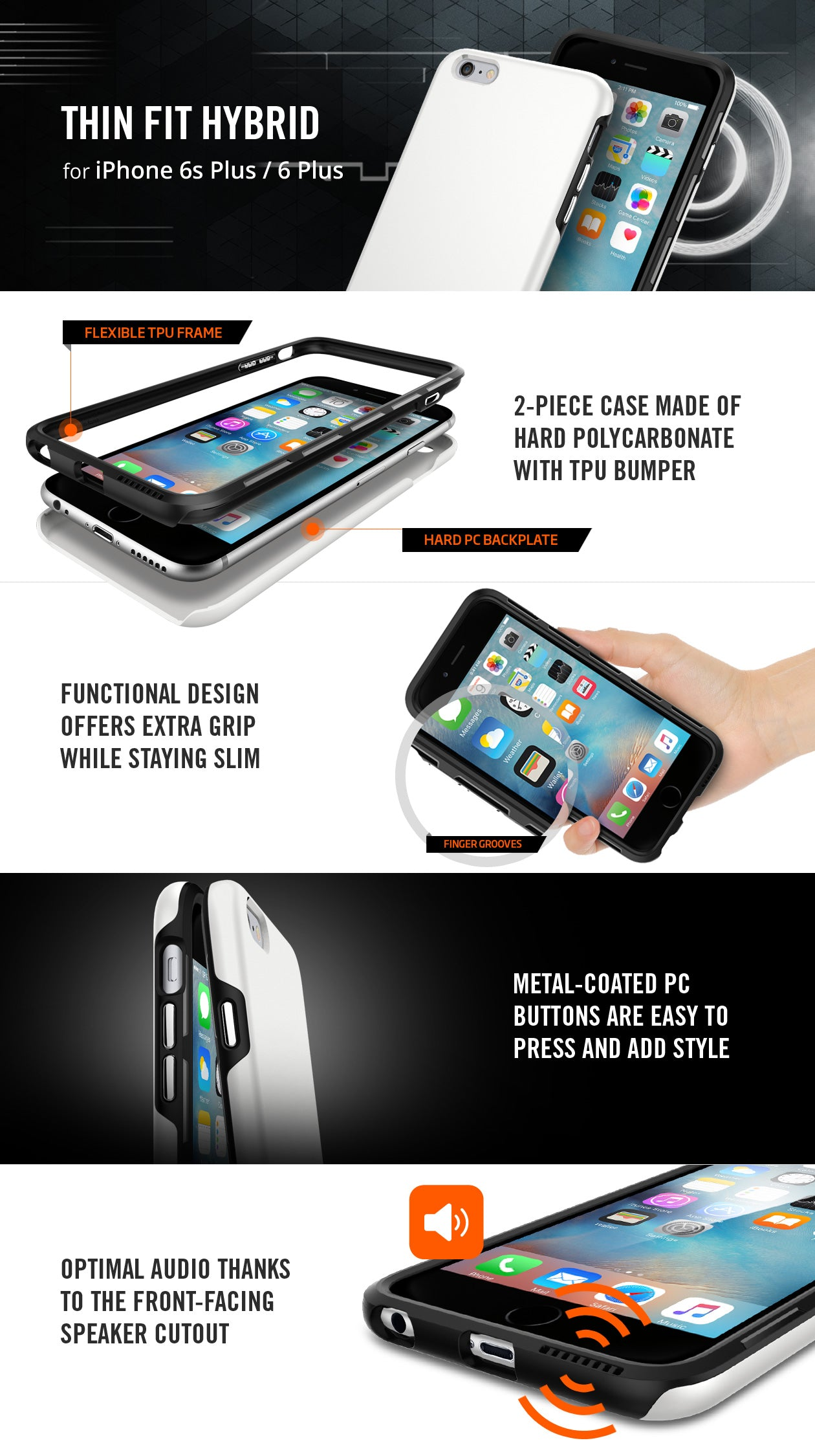Simplicity comes in all shapes and sizes as seen with our newly designed Thin  Fit™ Hybrid case for the iPhone 6s Plus. Its 2-piece build of hard PC and  ... 3adfef3ca3