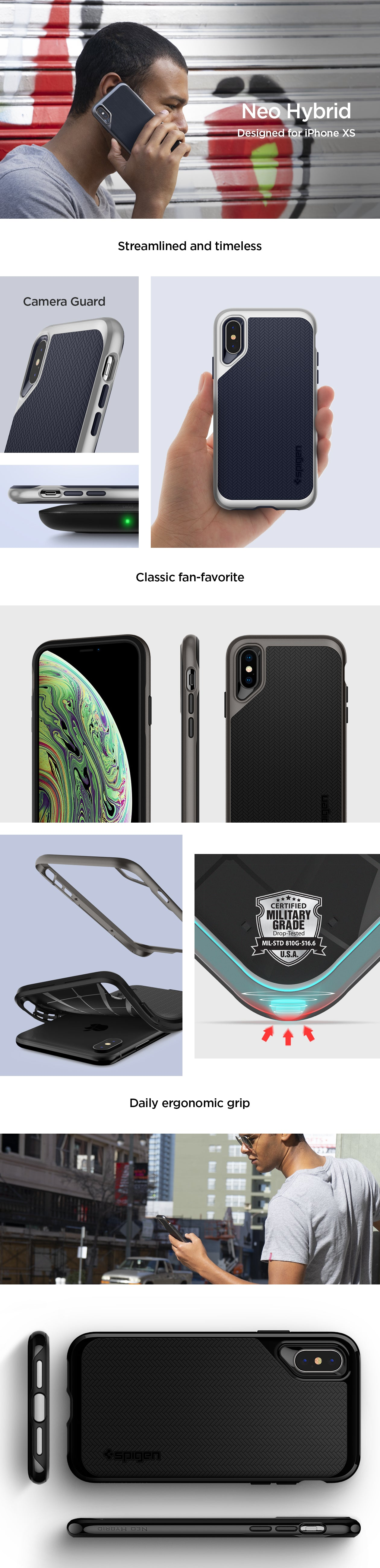 release date: dbfa6 91ad2 Details about iPhone XS, XS Max, XR Spigen® [Neo Hybrid] Dual Layered  Shockproof Case Cover