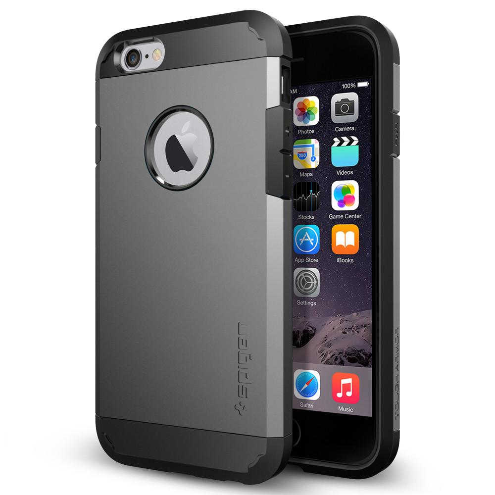 iPhone 6 Case Tough Armor in gunmetal showing the back and front