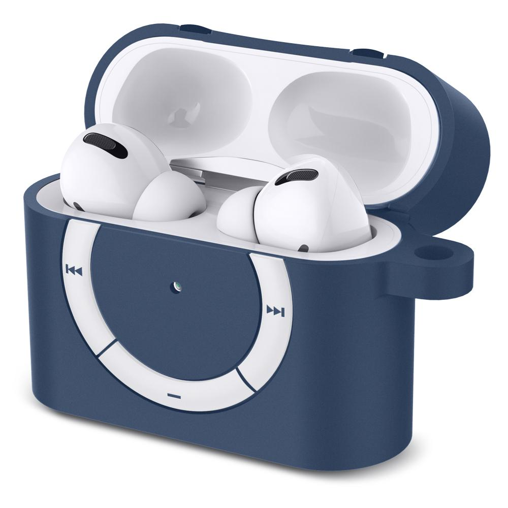 Apple AirPods Pro Case Rugged Armor in deep blue showing the front and side with top open