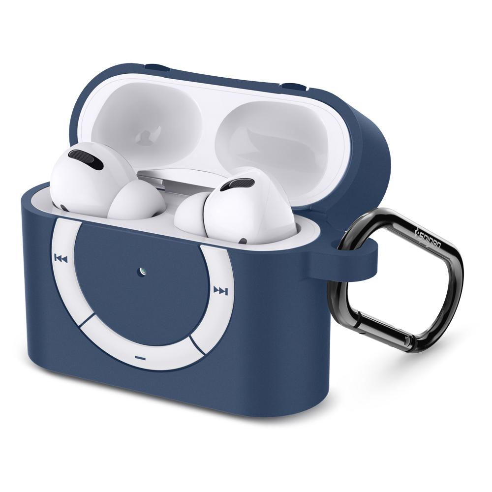 Apple AirPods Pro Case Rugged Armor in deep blue showing the front and side with top open and carabiner