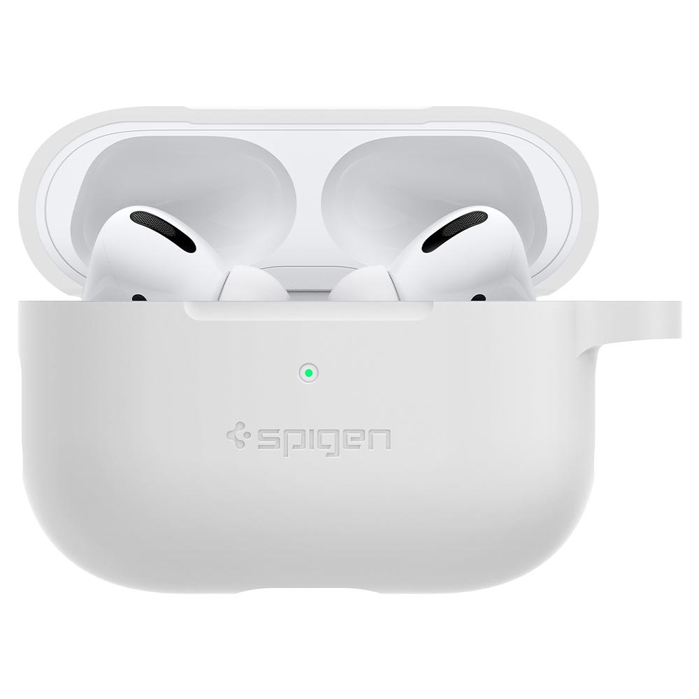 Silicone Fit	White	showing a front facing view of the edges around the	AirPods Pro	device.