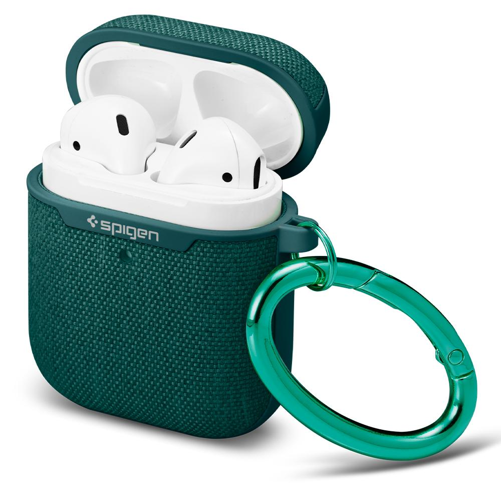 UrbanFit 	Midnight Green	showing a front facing view of the case around the	AirPods2nd/1stGen	device.