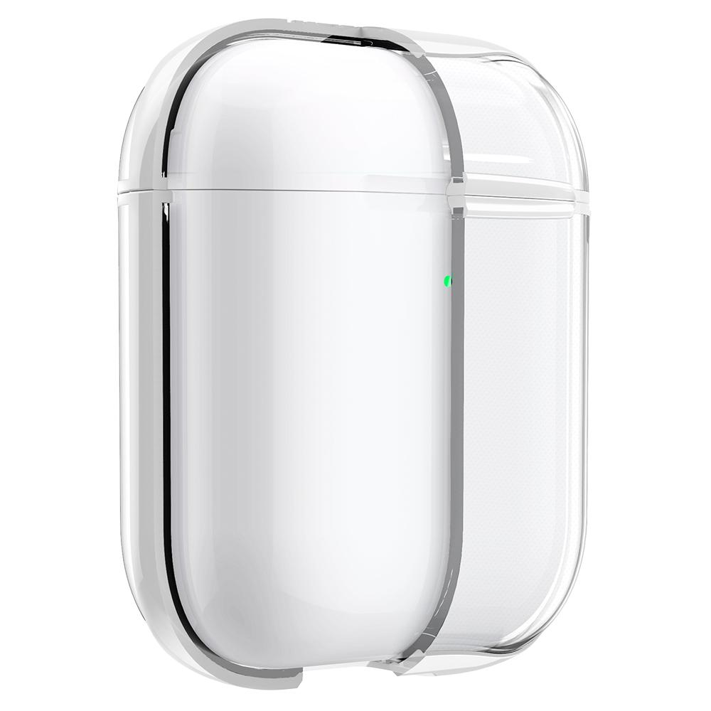 Apple AirPods Case Ultra Hybrid in white showing the front and side halfway cut out to expose inside