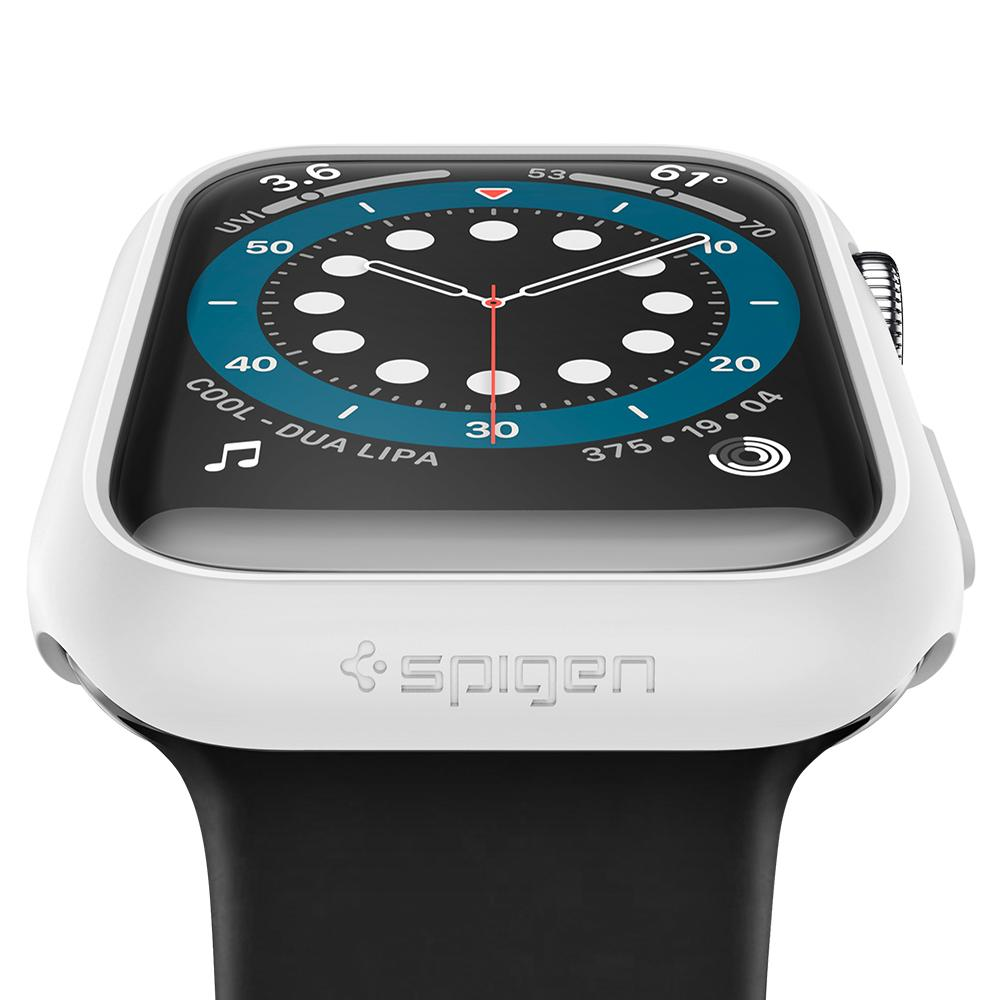 Apple Watch Series SE / 6 / 5 / 4 (40mm) Case Thin Fit in white showing the front and close up of bottom