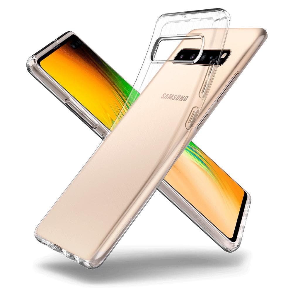 Liquid Crystal	Crystal Clear	Case	back design overlapping the front view of the	Galaxy S10 5G	device.
