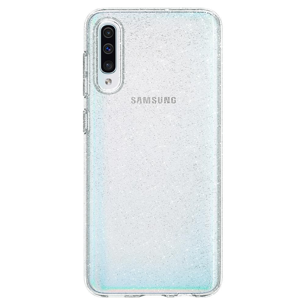Liquid Crystal Glitter	Crystal Quartz	Case	facing backwards showing the back design with the camera cutout on the	Galaxy A50s / A30s / A50	device.