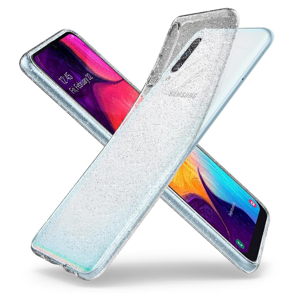 Liquid Crystal Glitter	Crystal Quartz	Case	back design overlapping the front view of the	Galaxy A50s / A30s / A50	device.