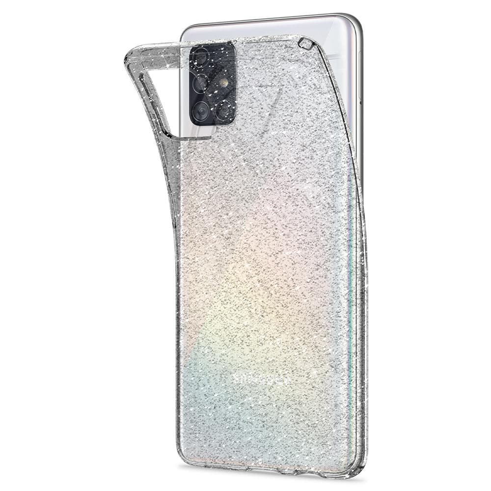 Galaxy A51 Case Liquid Crystal Glitter in crystal quartz showing the flexible back bent away from device