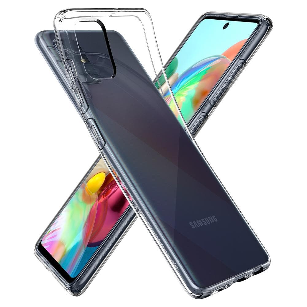 Galaxy A71 Case Liquid Crystal in crystal clear showing the flexible back bent away from device and front