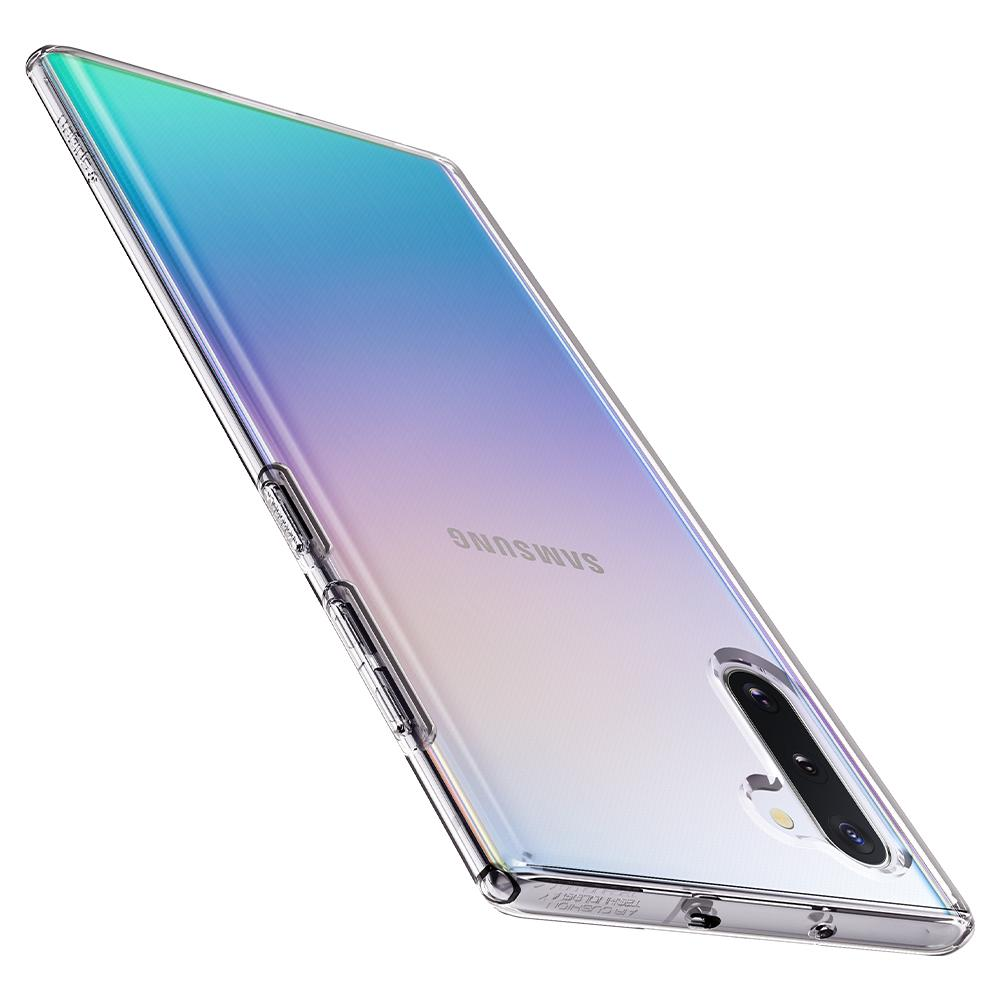 Galaxy Note 10 Case Liquid Crystal in crystal clear showing the top, side, and back