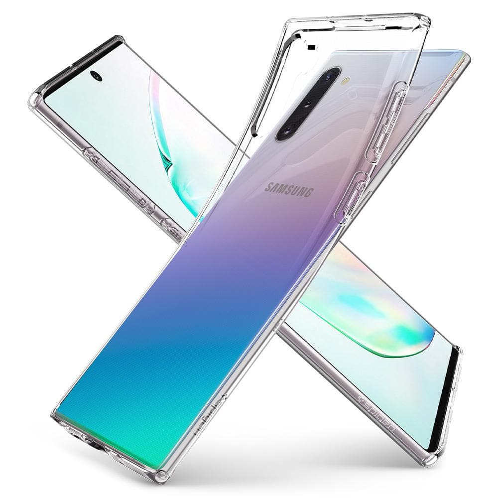 Galaxy Note 10 Case Liquid Crystal in crystal clear showing the back bent away from device, side, and front