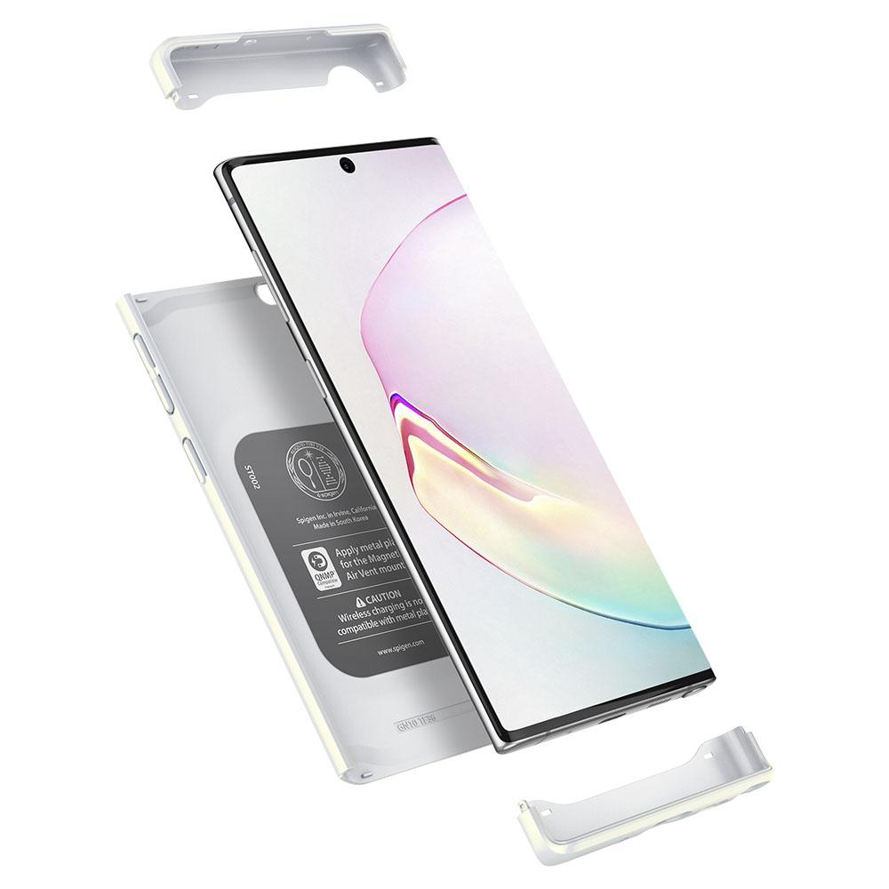 Galaxy Note 10 Case Thin Fit Classic in glow white showing the top, bottom, and back layers
