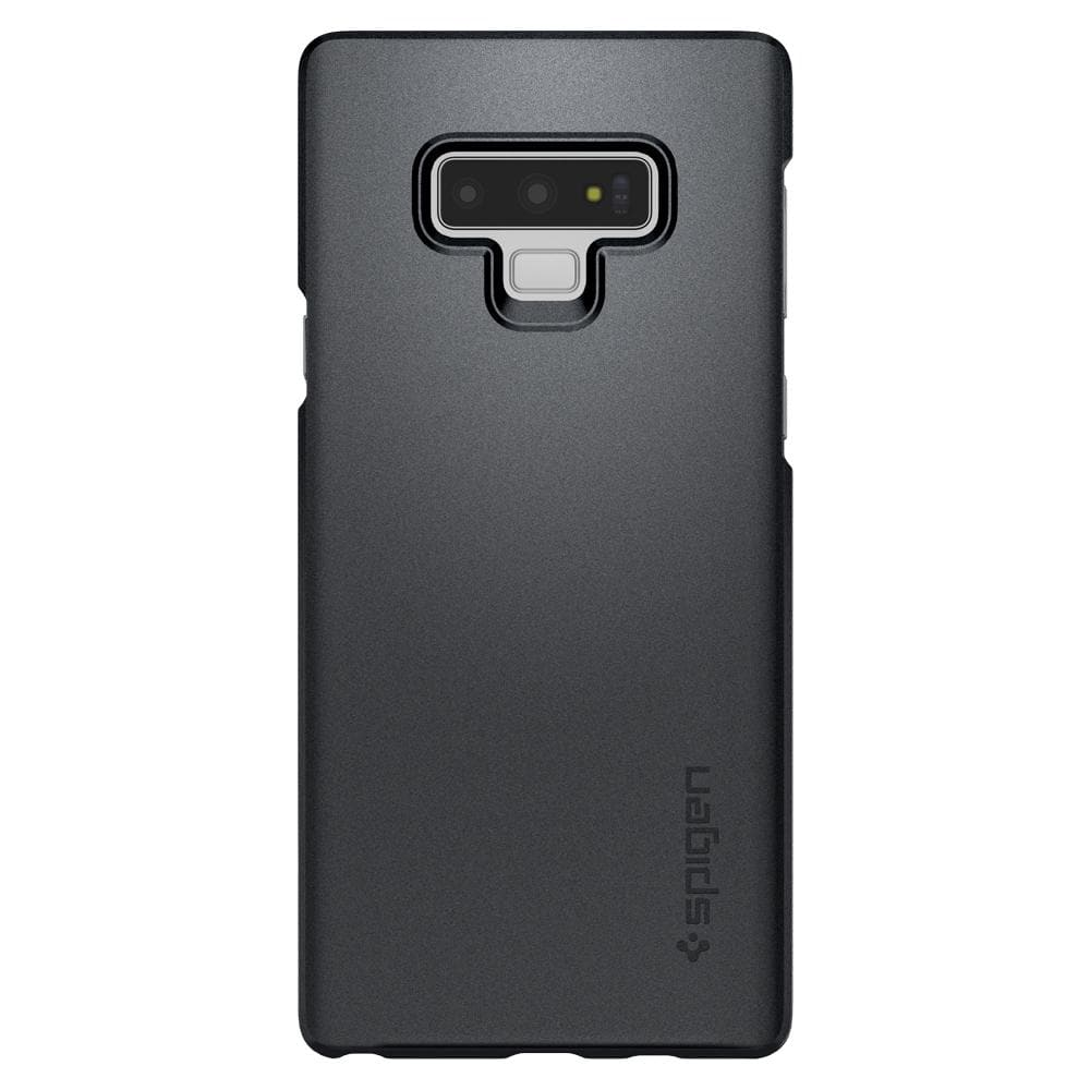 Thin Fit	Graphite Gray	Case	facing backwards showing the back design with the camera cutout on the	Galaxy Note 9	device.