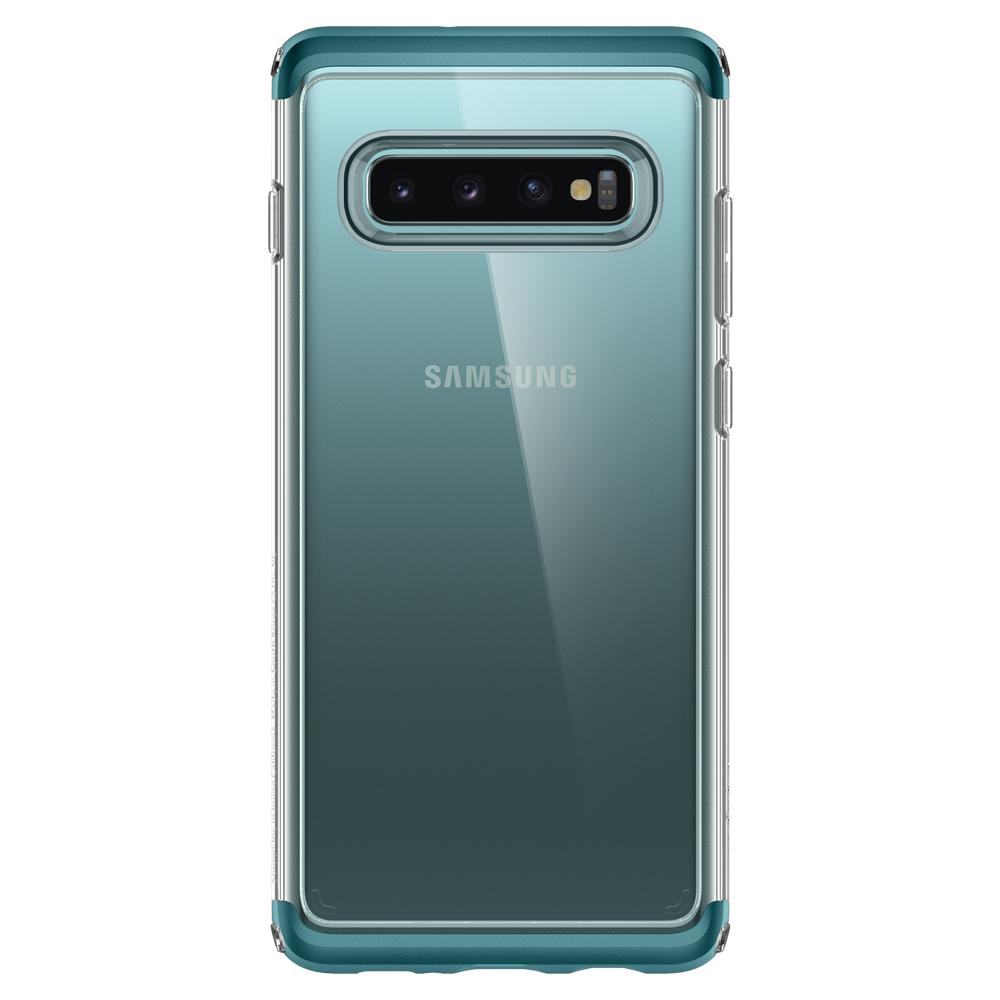 Neo Hybrid NC	Green Case	facing backwards showing the back design with the camera cutout on the	Galaxy S10	device.