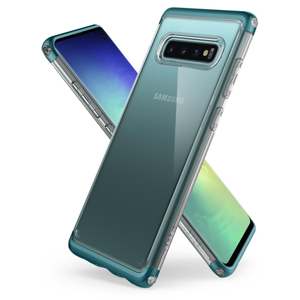 Neo Hybrid NC	Green Case	back design overlapping the front view of the	Galaxy S10	device.